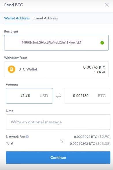 coinbase send bitcoin