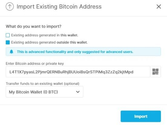 send Bitcoin from paper wallet