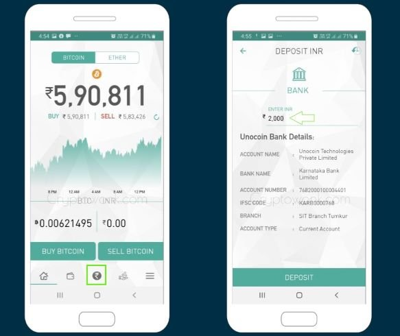 add money to Unocoin wallet